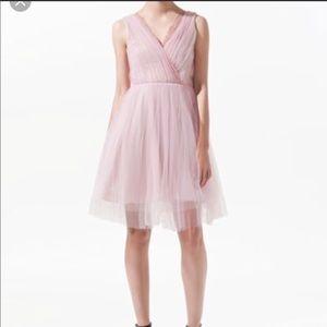 🌸 ZARA Ballerina Pink Tulle Dress/lace v-neck, S